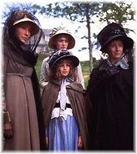 The Dashwood Family, from left: Elinor, Marianne, Marguerite, and Mrs. Dashwood.